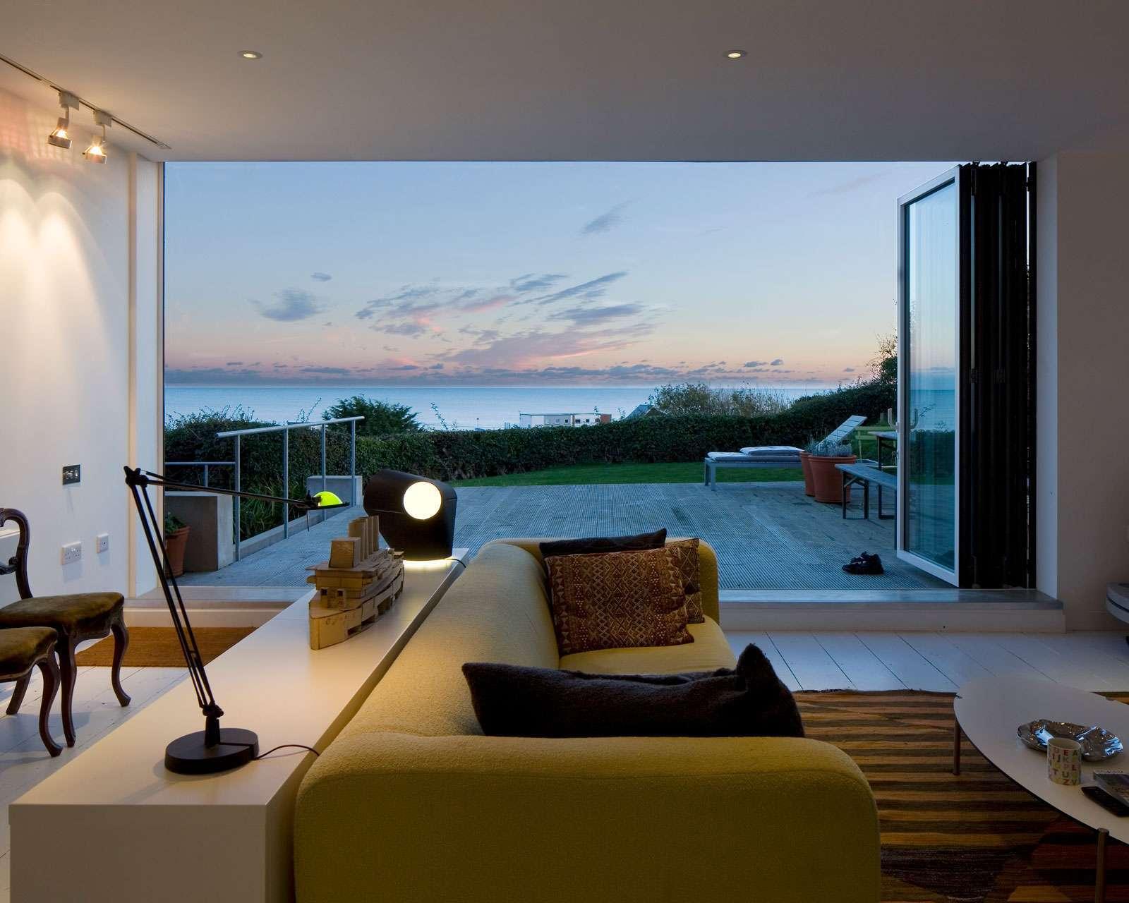 sea view living space bi fold doors